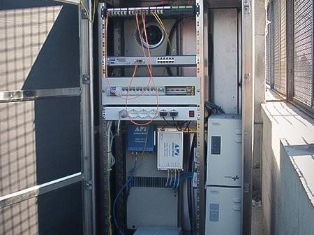 Impianto di videosorveglianza, armadio trasmissione dati.